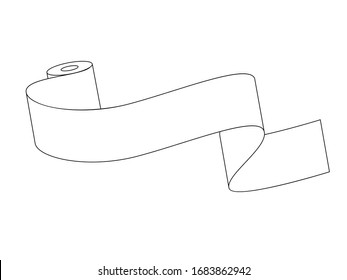 Unwound roll of toilet paper with place for text. Vector illustration