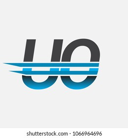 UO initial logo company name colored black and blue, Simple and Modern Logo Design.
