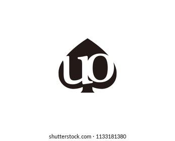 The uo initials logo inside the black shovel