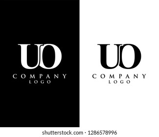 uo/ou modern logo design with black and white color that can be used for creative business and company