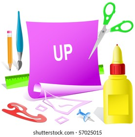 Up. Vector paper template.