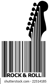A UPC bar code that's also a guitar with space for text