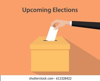 Upcoming election illustration with man's hand put in white paper into brown box and orange background