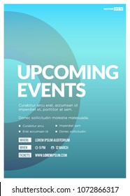 Upcoming Events Poster with Text Template and Venue Time Date Details