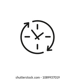 Update clock line icon. Watch, reload, recycle. Timing concept. Can be used for topics like app design, upgrading, renovation