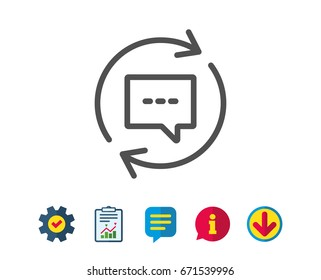 Update Comments line icon. Chat Speech bubble sign. Communication symbol. Report, Service and Information line signs. Download, Speech bubble icons. Editable stroke. Vector