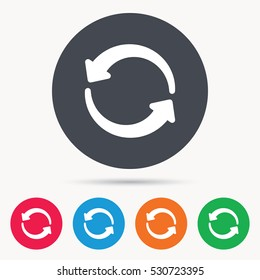 Update icon. Refresh or repeat symbol. Colored circle buttons with flat web icon. Vector