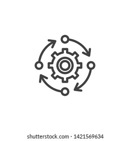 Update Settings, preferences line icon. Gear with arrows linear style sign for mobile concept and web design. Search engine optimization outline vector icon. Symbol, logo illustration. Vector graphics