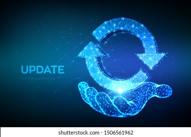 Update or Synchronization icon. Low poly abstract update or sync sign in hand. Processing concept. Can be used for topics like refresh, recycling, reload. 3D polygonal vector illustration.