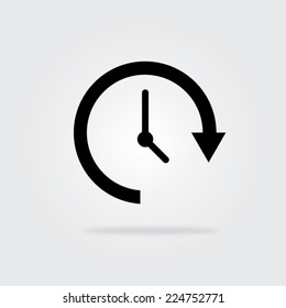 Update time icon with shadow. Vector illustration eps10.