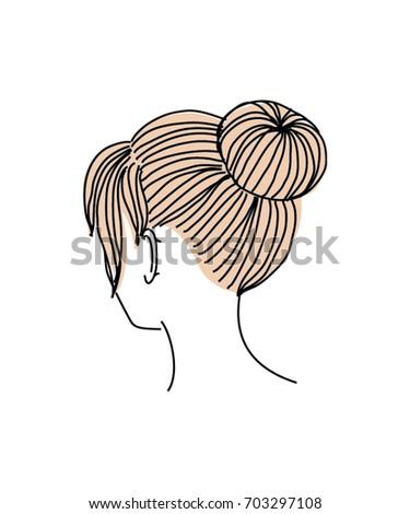 Updo Bun Hairstyle Vector Illustration Stock Vector Royalty Free