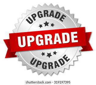 upgrade 3d silver badge with red ribbon