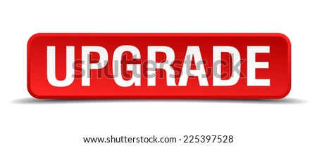 Upgrade Red 3d Square Button Isolated On White