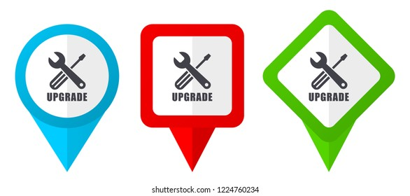 Upgrade sign red, blue and green vector pointers icons. Set of colorful location markers isolated on white background easy to  edit