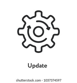 Upgrade Update Refresh Hog Wheel Arrow Minimal Flat Line Outline Stroke Icon