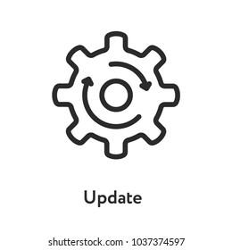 Upgrade Update Refresh Hog Wheel Arrow Minimal Flat Line Outline Stroke Icon