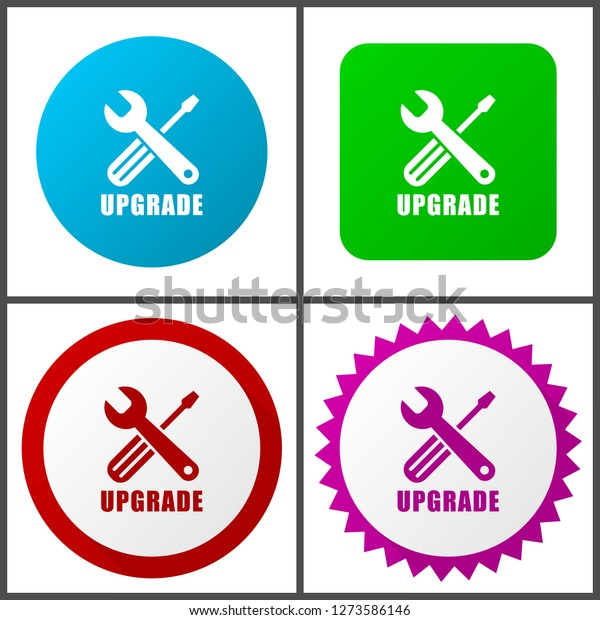 1584da2f04 Upgrade vector icon set. Flat design web icons in eps 10. Colorful internet  buttons