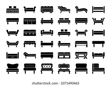 Upholstered Benches & Couches. Living room, bedroom, entrance & patio furniture. Different kinds of classic and modern settees. Lounges & daybeds. Front view. Vector icon collection.