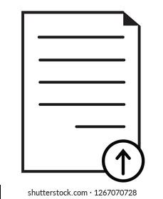 upload document icon on white background. flat style. upload document icon for your web site design, logo, app, UI. document symbol. upload file sign. upload logo.