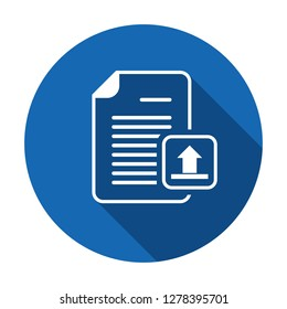 Upload documentation vector. Document file internet page upload icon. Vector icon