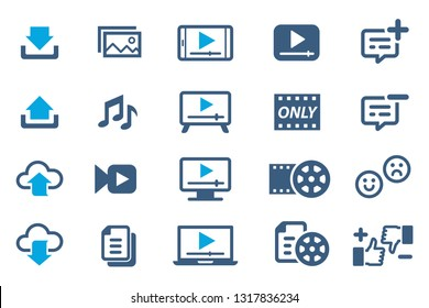 Upload and download media to network.(icon)