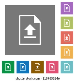 Upload file flat icons on simple color square backgrounds
