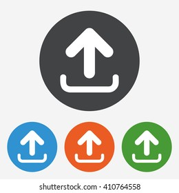 Upload icon. Load data symbol. Circle buttons with flat sign. Vector