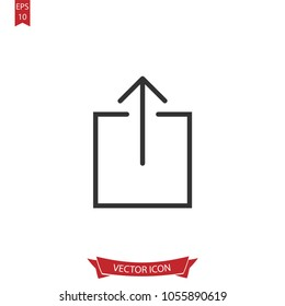Upload icon.Submit line vector.Isolated on white background.Simple liner illustration for web and mobile platforms.