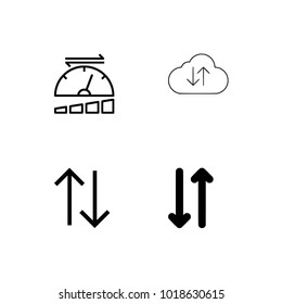 Upload sign icon. Upload button. Load symbol. Circle and square buttons. Flat design set.
