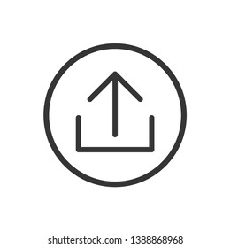 Upload vector icon, add to cloud symbol. Modern, simple flat vector illustration for web site or mobile app.