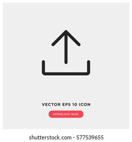 Upload vector icon, add to cloud symbol. Modern, simple flat vector illustration for web site or mobile app