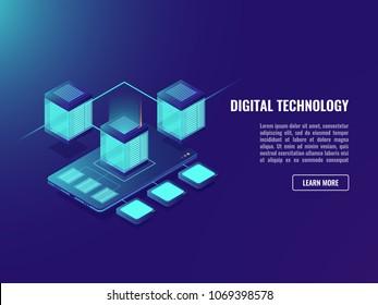Uploading file on cloud storage concept, isometirc vector smartphone, server room, mobile application install, data stora, software package neon dark ultraviolet