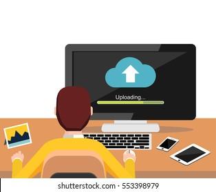 Uploading process on desktop screen concept. Person working on computer. Modern flat design for Web Banner , Website Element , Brochures, or Book cover