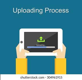 Uploading process on screen of tablet concept illustration. Flat design. Uploading bar status.