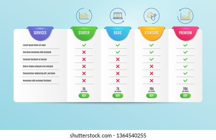 Upper arrows, Customer satisfaction and E-mail icons simple set. Comparison table. Efficacy sign. Growth infochart, Happy smile, New message. Business chart. Education set. Pricing plan. Vector
