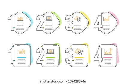 Upper arrows, Customer satisfaction and E-mail icons simple set. Efficacy sign. Growth infochart, Happy smile, New message. Business chart. Education set. Infographic timeline. Line upper arrows icon