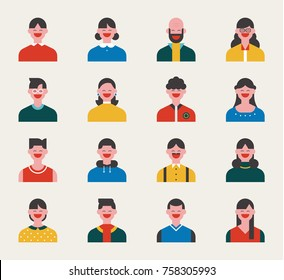 Upper body characters of various faces vector illustration flat design