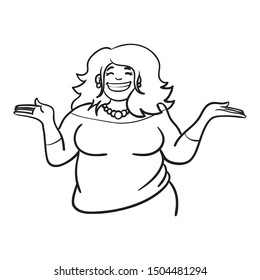Upper body of a confident fat woman holding her hands up and laughing.  monochrome cartoon illustration.