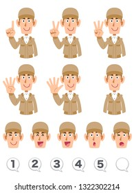 The upper body expression and number of men wearing a beige work cloth that counts numbers with fingers