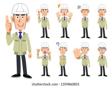 Upper body of a man wearing a helmet and work clothes 9 sets of facial expressions and gestures 2