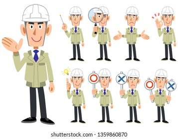 Upper body of a man wearing a helmet and work clothes 9 sets of facial expressions and gestures 1