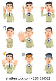 The upper body of a man wearing work clothes, 9 types of facial expressions and gestures 2