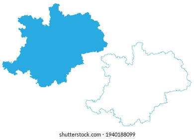 Upper Franconia (Federal Republic of Germany, Administrative division, Region Free State of Bavaria) map vector illustration, scribble sketch Upper Franconia map
