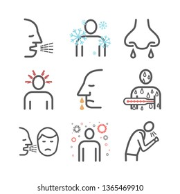 Upper respiratory tract infections URI or URTI. Symptoms, Treatment. Line icons set. Vector signs for web graphics.