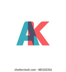 uppercase AK logo, modern classic pale blue red overlap transparent logo