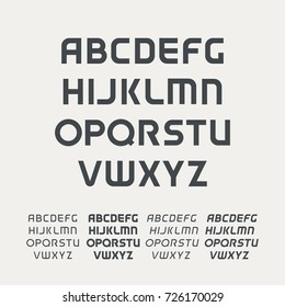 Uppercase alphabet. Futuristic science technology font. Modern monogram template. Minimalistic vector design typeface. Letter Logo template set. The first letter of the title.