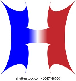 THE UPPERCASE ALPHABET LETTER H IN RED WHITE AND BLUE STRIPES WITH A STARBURST OUTLINE