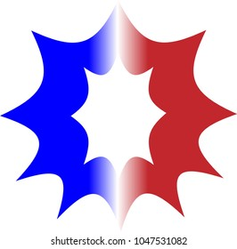 THE UPPERCASE ALPHABET LETTER O IN RED WHITE AND BLUE STRIPES WITH A STARBURST OUTLINE
