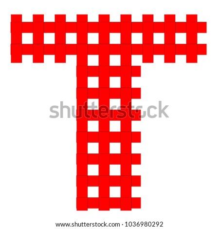 Uppercase Alphabet Letter T Red White Stock Vector Royalty Free