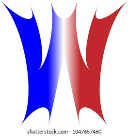 THE UPPERCASE ALPHABET LETTER W IN RED WHITE AND BLUE COLORS WITH A STARBURST OUTLINE